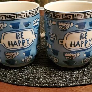 Anthropologie Be Happy Mugs